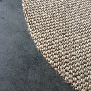 Round Latte Sisal Rug With Tuck Under Border