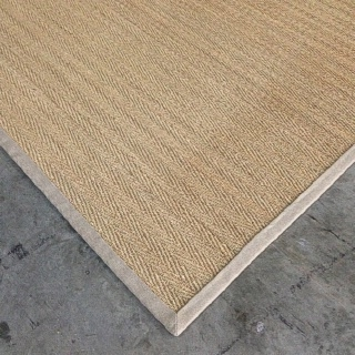 Herringbone Seagrass Rug with 2 inch Lilydale Linen Border 3.50 x 4.00 $1155.00