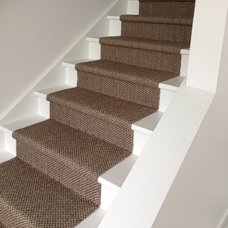 Custom Fit Granite Rustic Sisal Stair Installation