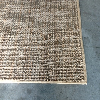 Knotted Natural and Silver Jute With Hessian Border 1.70 x  2.40 $610.00