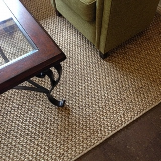 Custom River Rock Sisal Rug With Tan Overlocked Border