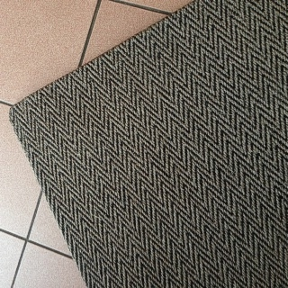 Herringbone Pewter Sisal Rug Tuck Under Border